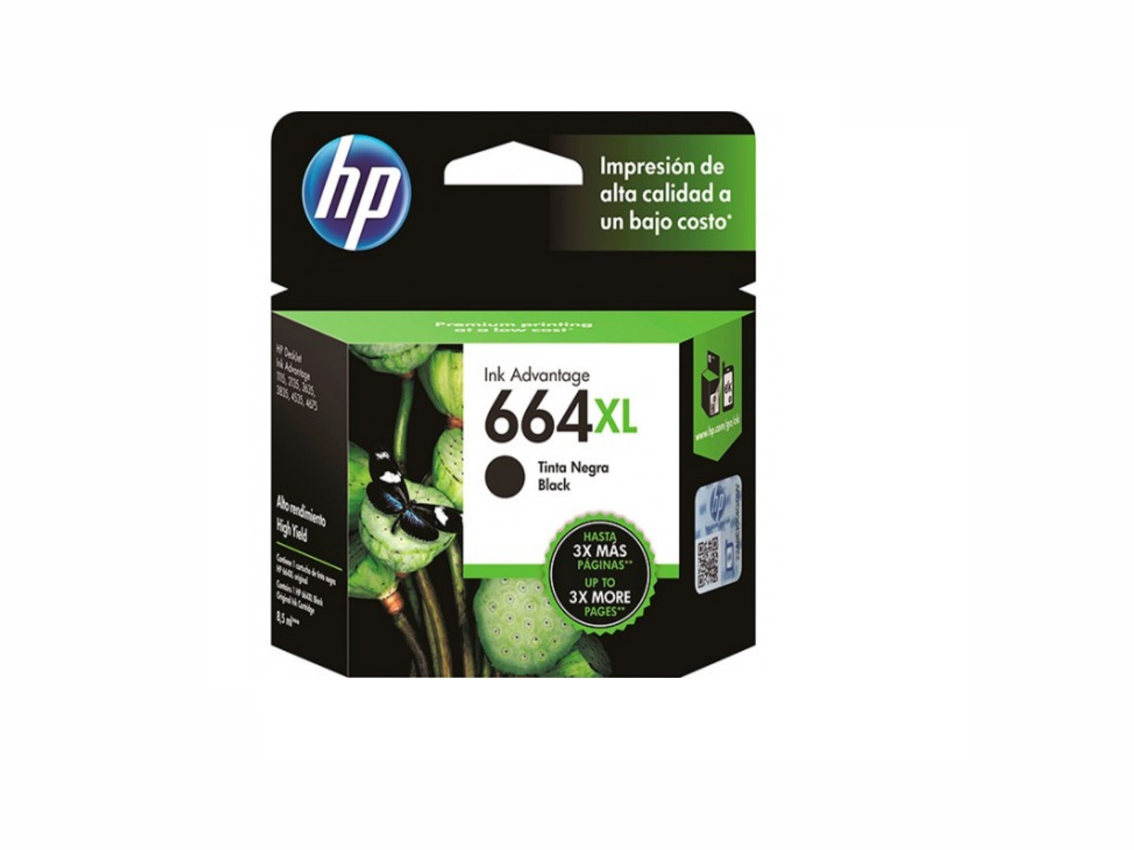 CARTUCHO 664XL NEGRO  F6V31AL HP