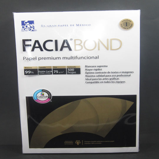 PAPEL FACIA BOND 36K BLANCO DOBLE CARTA 99% BLANCU PAQ C/500