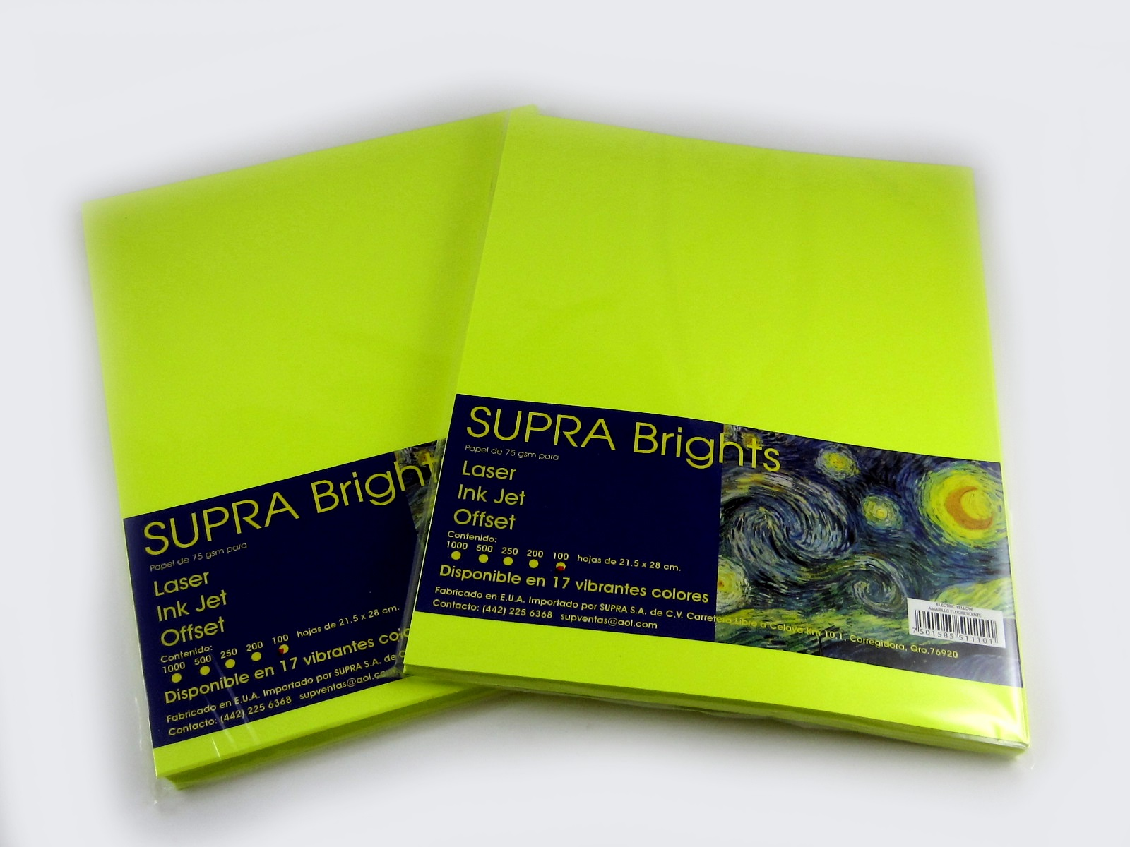 PAPEL BRIGHTS 75GRS. T/CTA ELECTRIC YELLOW PAQ C/100